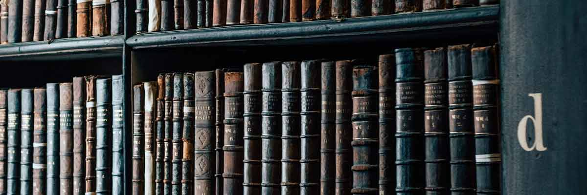 medical resources on a bookshelf